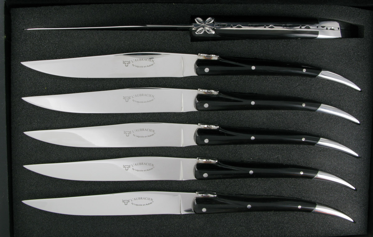laguiole de table - -couteaux table l'aubracien manche buffle (set
