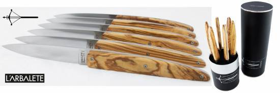 -Laguiole ARBALETE Table knives olivewood handle (Set of 6)