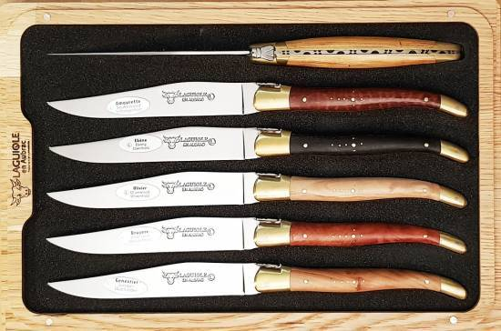 -Laguiole en Aubrac Table knives Several Wood Brass Bolsters (Set of 6)