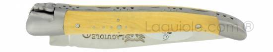Laguiole knife 1 piece 10 cm boxwood handle brushed stainless steel