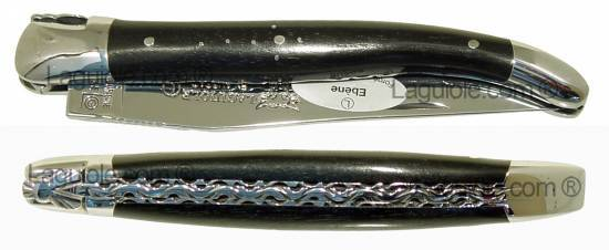 Laguiole knife Ebony shiny Inox 4.72inches handcarved plates 1piece 2 shiny bolsters