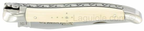 Laguiole knife 1 piece 12 cm Mammoth Ivory handle shiny stainless steel