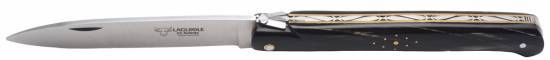 Laguiole folding knife DROIT 1 piece 13 cm Buffalo  handle Brushed stainless steel