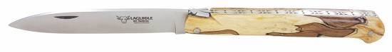 Laguiole folding knife DROIT 1 piece 13 cm Aubrac Wood Brushed stainless steel
