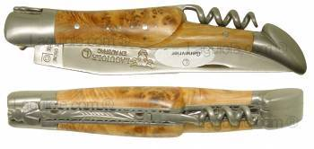 Laguiole knife 12cm 2 brushed stainless steel bolsters double plates juniper handle and corkscrew