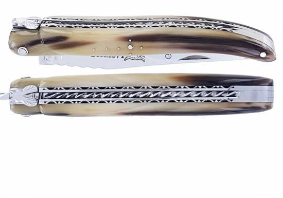 Laguiole knife 12cm 1 piece full handle horn tip spiral spring