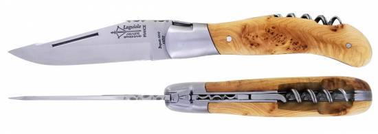 Hunting Laguiole knife with corkscrew Juniper Handle Brushed Stainless steel (Arbalete)