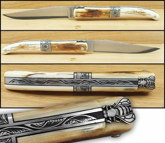 1Laguiole en Aubrac Prestigious knife 12 cm central bolster Mammoth Tusk handle Reversed Bee