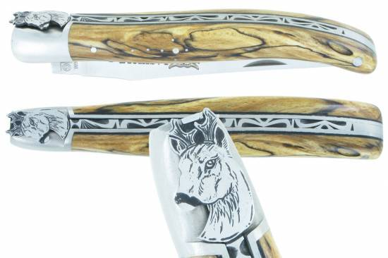 Laguiole knife The Animals Collection Roe Deer 1piece 12cm Aubrac Wood