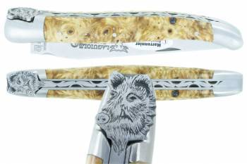 Laguiole knife The Animals Collection Wild Boar 1piece 12cm Chestnut tree
