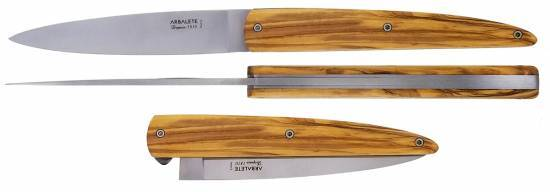 Arbalete folding knife with olivewood handle brushed finishing