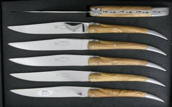 -L'Aubracien Table knives Olivewood handle (Set of 6)