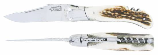 Hunting Laguiole knife with corkscrew Stag Horn Handle (Arbalete)