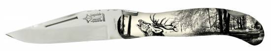 Hunting Laguiole knife Scrimshaw Spirit Stag Handle (Arbalete)