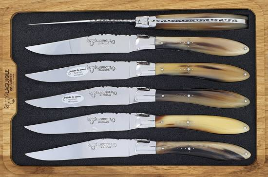 -Laguiole en Aubrac Table knives CROCUS horn tip handle (Set of 6)