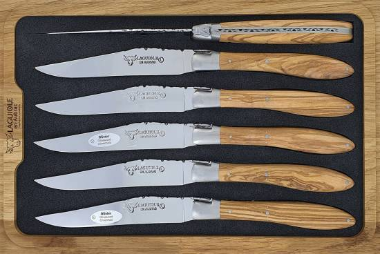 -Laguiole en Aubrac Table knives CROCUS Olivewood handle (Set of 6)