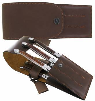 leather case for 6 table knives Chocolat