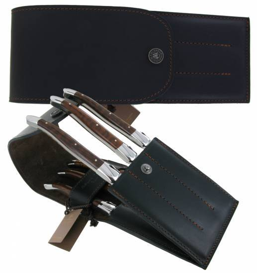 leather case for 6 table knives Black