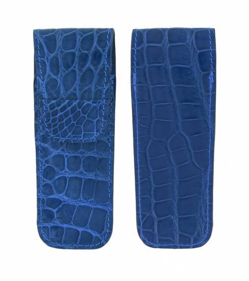 leather case Laguiole Club Crocodile 10cm Blue