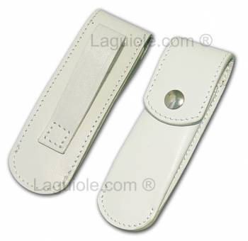 Sauveterre 9cm White leather case Laguiole for 9cm knife