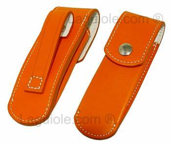 Sauveterre 9cm Orange leather case Laguiole for 9cm knife