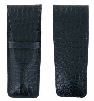 leather case Laguiole Luxe Crocodile 12cm Dark Blue