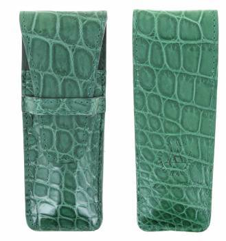 leather case Laguiole Luxe Crocodile 12cm Green