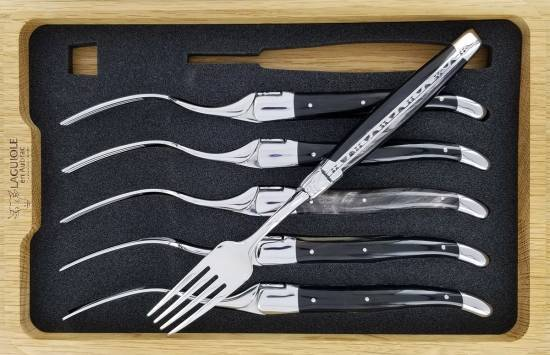 -Laguiole en Aubrac Table forks Black Buffalo Horn handle (Set of 6)