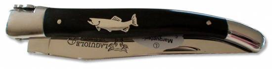 Laguiole knife 12cm 1p tin Trout marquetry