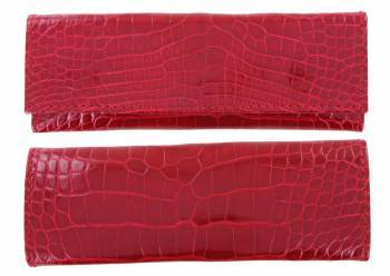 leather case Laguiole Lesparros Pression Crocodile 15cm Red