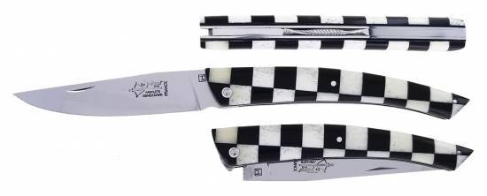 Le Thiers Checkerboard Bone Ebony (12cm)